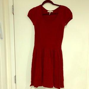 Sandro burgundy knit cap sleeve fit/flare dress 2